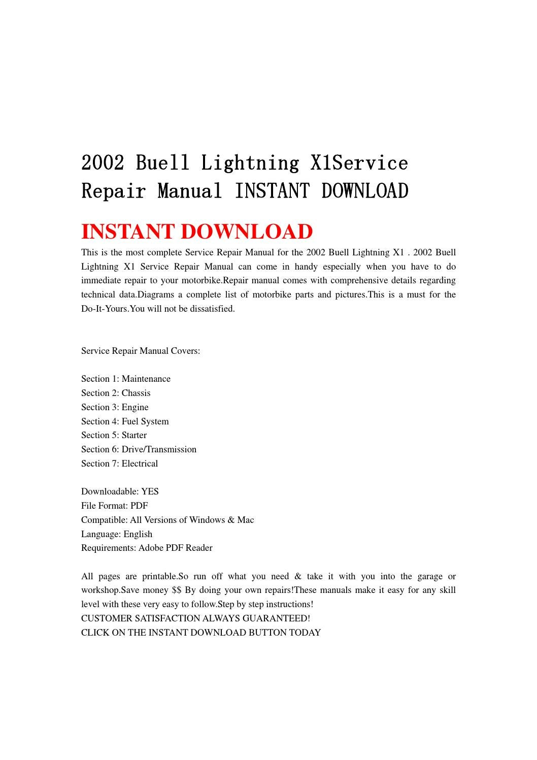 2002 buell lightning x1service repair manual instant downloa by hnjhhnj -  issuu