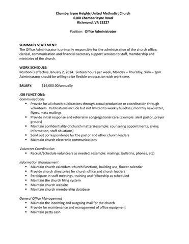 Chumc office administrator job description by Chamberlayne Heights ...