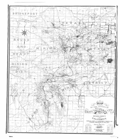Grass valley nevada city nevada county ca mining map 1897 by The