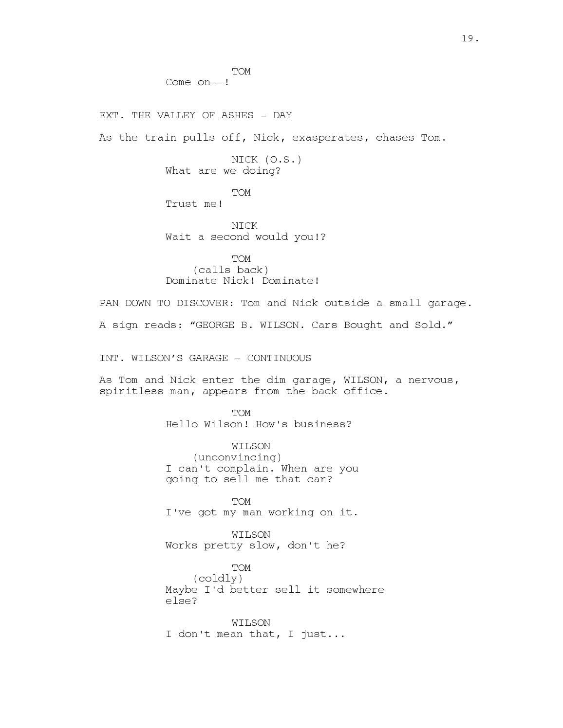 Great Gatsby Movie Script By Stephen Brockelman Issuu