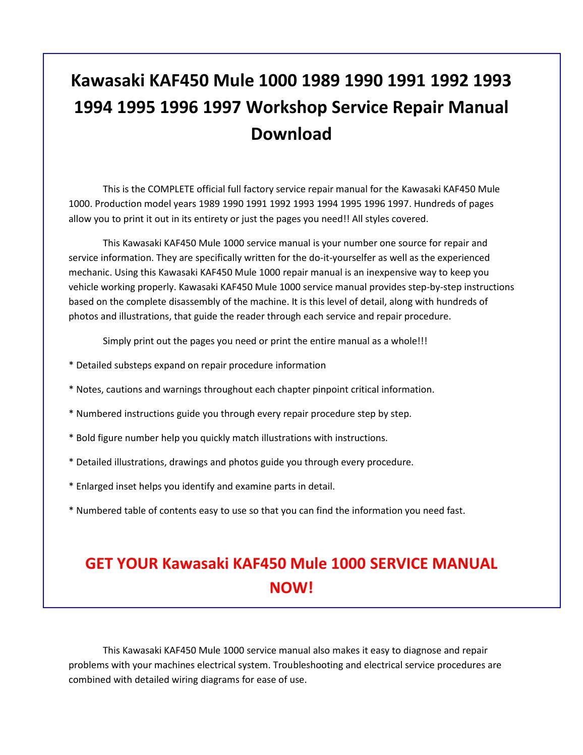 1990 kawasaki Mule Manual Pdf
