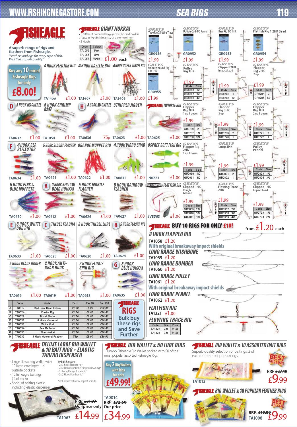 20 assorted fishing rigs size 1//0 and size 2  hooks