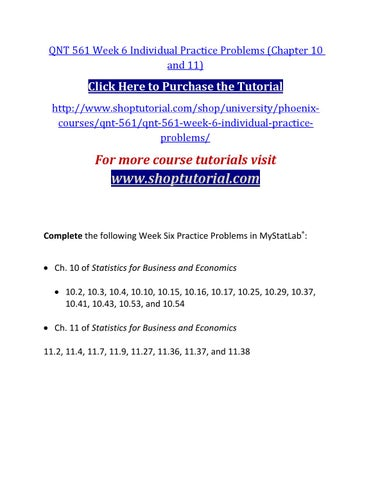 Qnt 561 Week 6 Individual Practice Problems Chapter 10 And