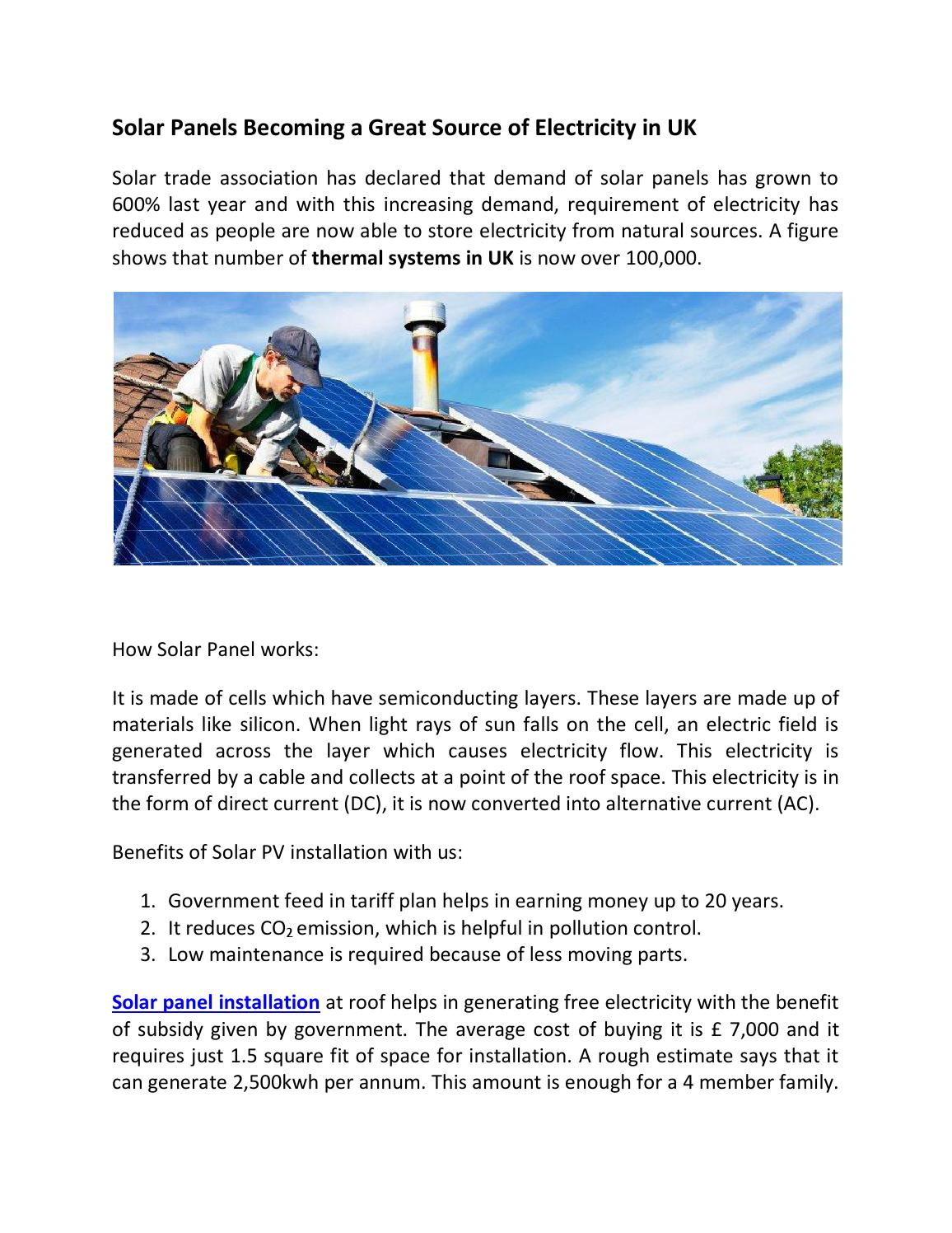 Solar Panels As Source Of Electricity By Total Energy Installation Cells Produce Dc From Light Sunlight Contains Issuu