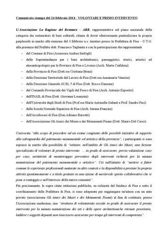 La Ragione Del Restauro.Comunicato Arr Pisa By Associazione La Ragione Del Restauro Issuu