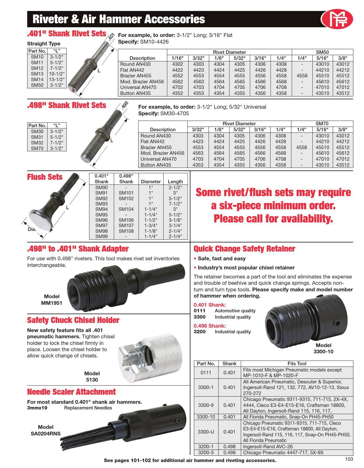 """Rivet Set AN470 3//32/"""" Universal Straight .401 shank rivet gun SM11-4703 5 1//2/"""""""