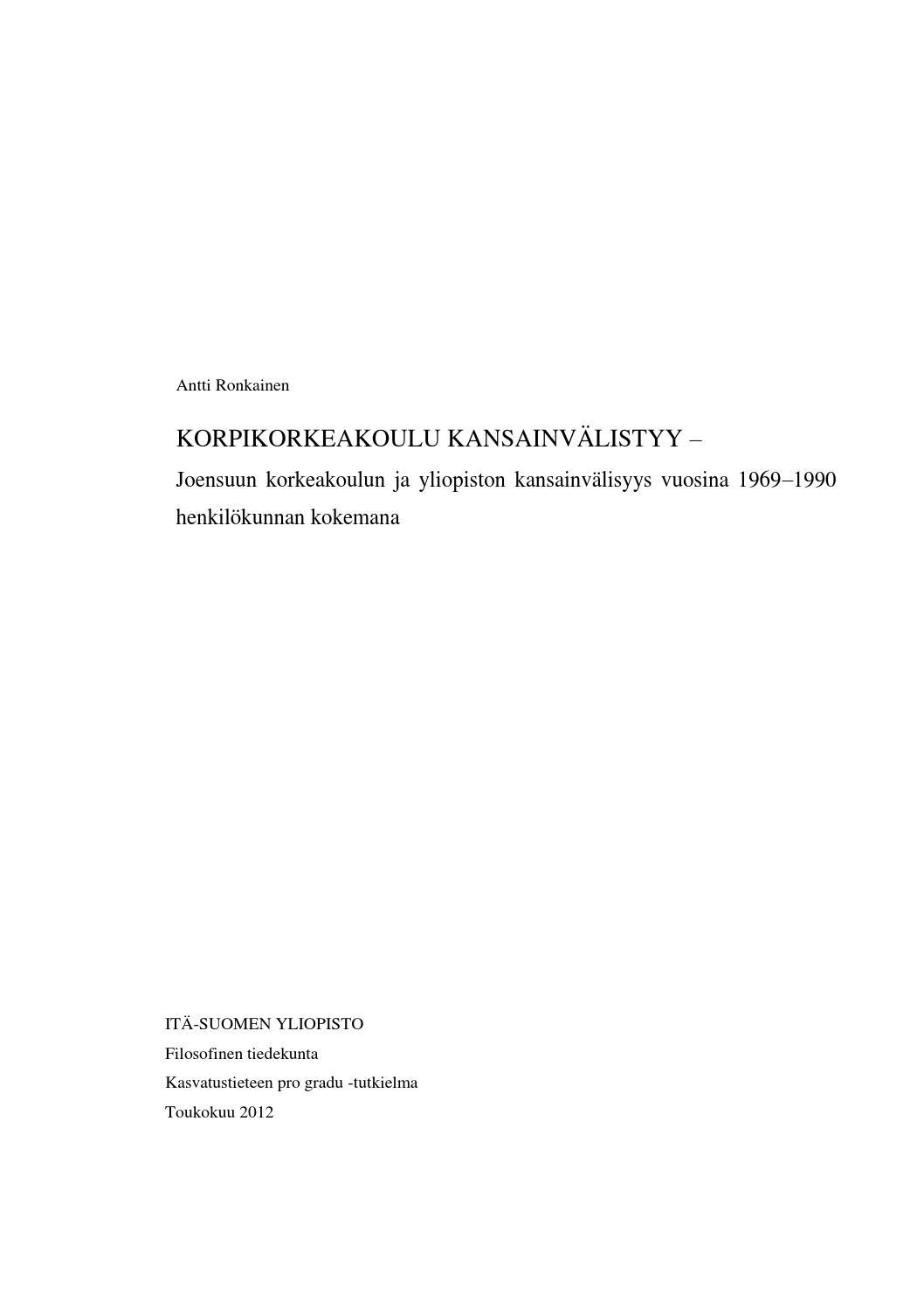Korpikorkeakoulu Kansainvalistyy By Antti Ronkainen Issuu