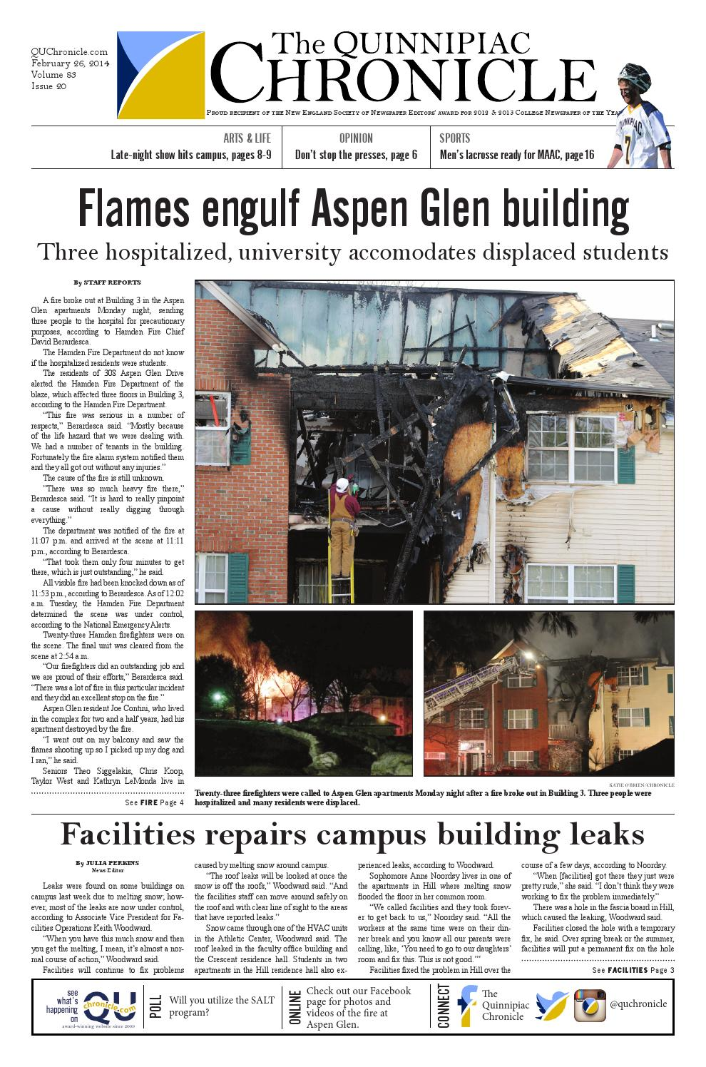 The Quinnipiac Chronicle Issue 20, Volume 83 by The