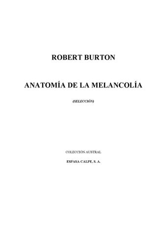 Anatomia de la Melancolia By Robert Burton by Alejandra Alvarado - issuu