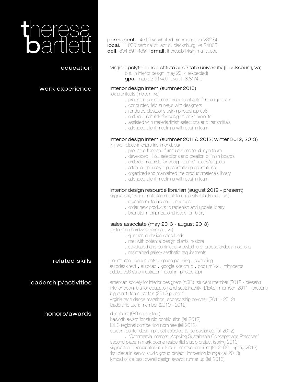 Resume Theresa Bartlett By