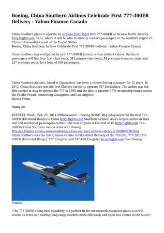 Boeing China Southern Airlines Celebrate First 777 300er Delivery Yahoo Finance Canada By Mushyhomicide5139 Issuu