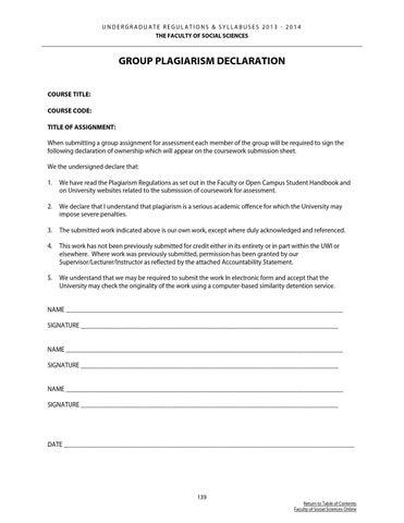 uwi undergraduate coursework accountability statement