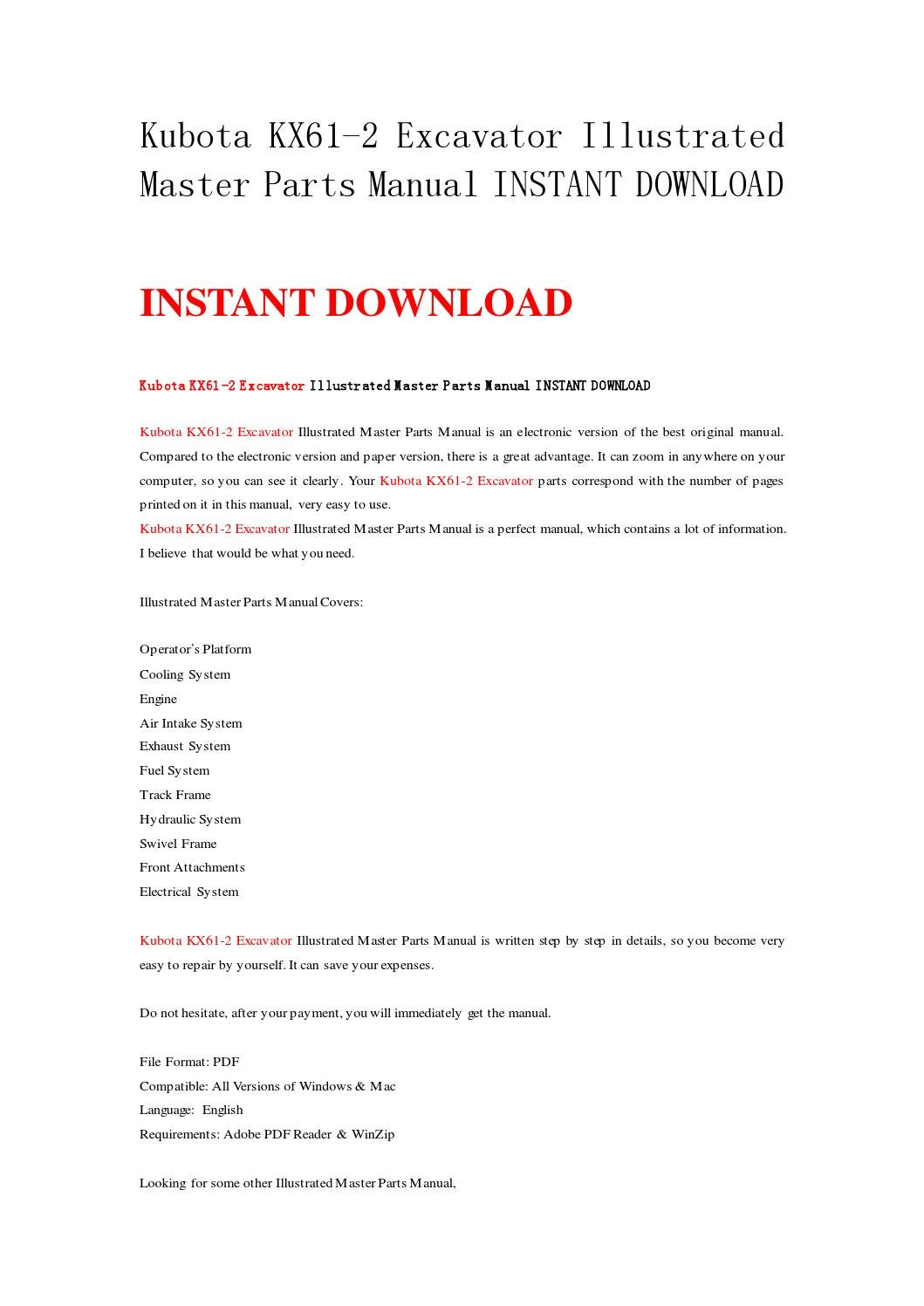 Kubota kx61 2 excavator illustrated master parts manual instant download by  nwqrez - issuu