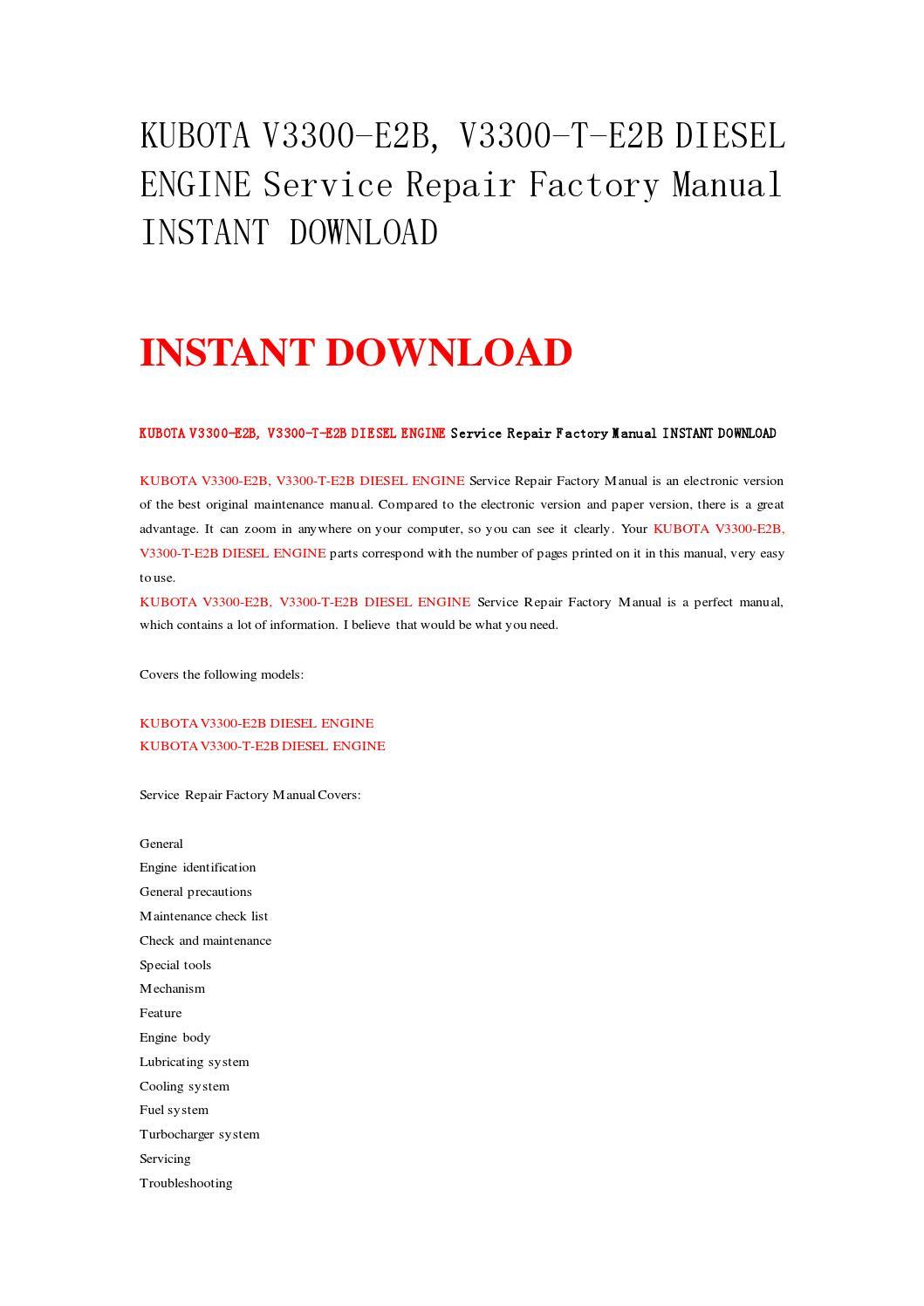 Kubota v3300 e2b, v3300 t e2b diesel engine service repair factory manual  instant download by nwqrez - issuu