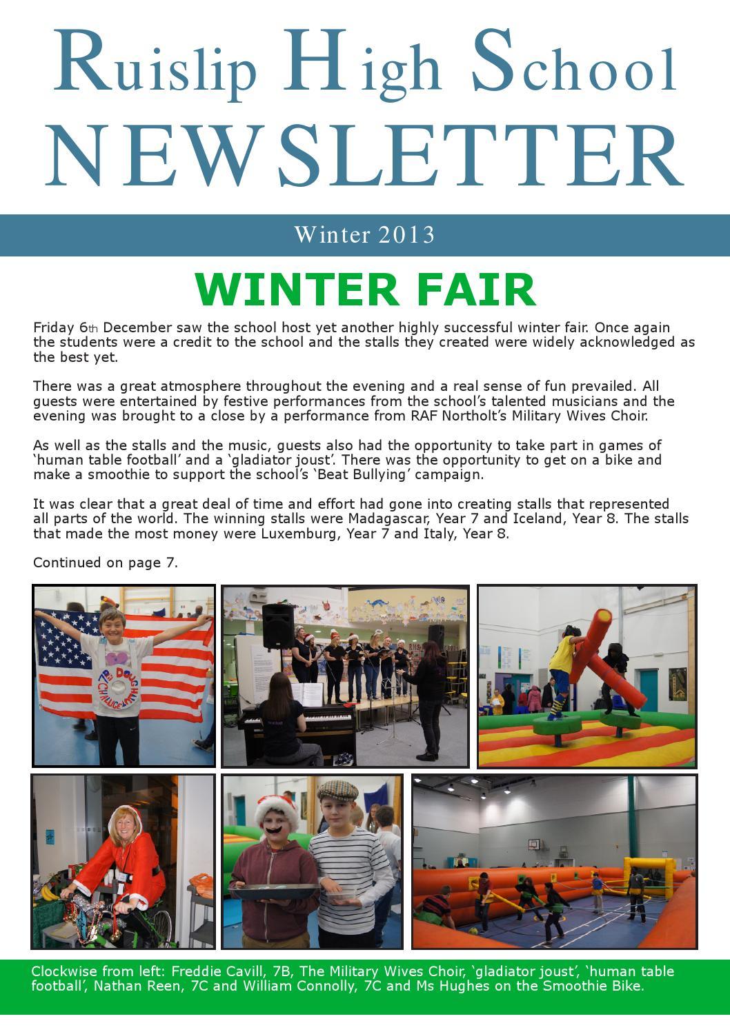 Winter Newsletter 2013 by Ruislip High School - issuu