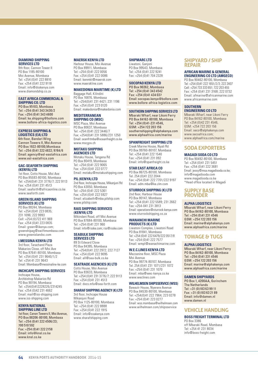 Kenya Ports Authority Handbook 2014 by Land & Marine