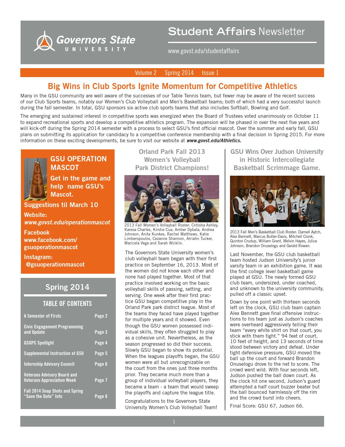 Student Affairs Spring 2014 Newsletter By Division Of Student