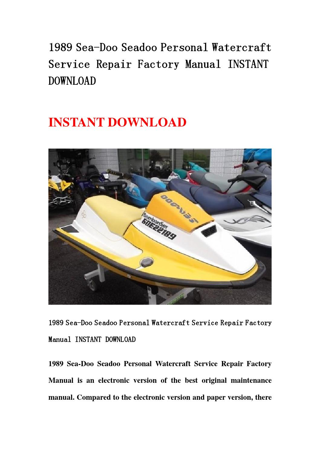 1989 sea doo seadoo personal watercraft service repair factory manual  instant download by hews - issuu