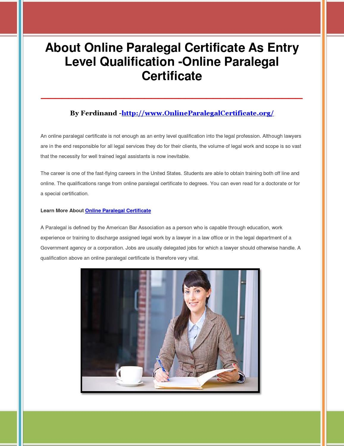 About Online Paralegal Certificate As Entry Level Qualification By