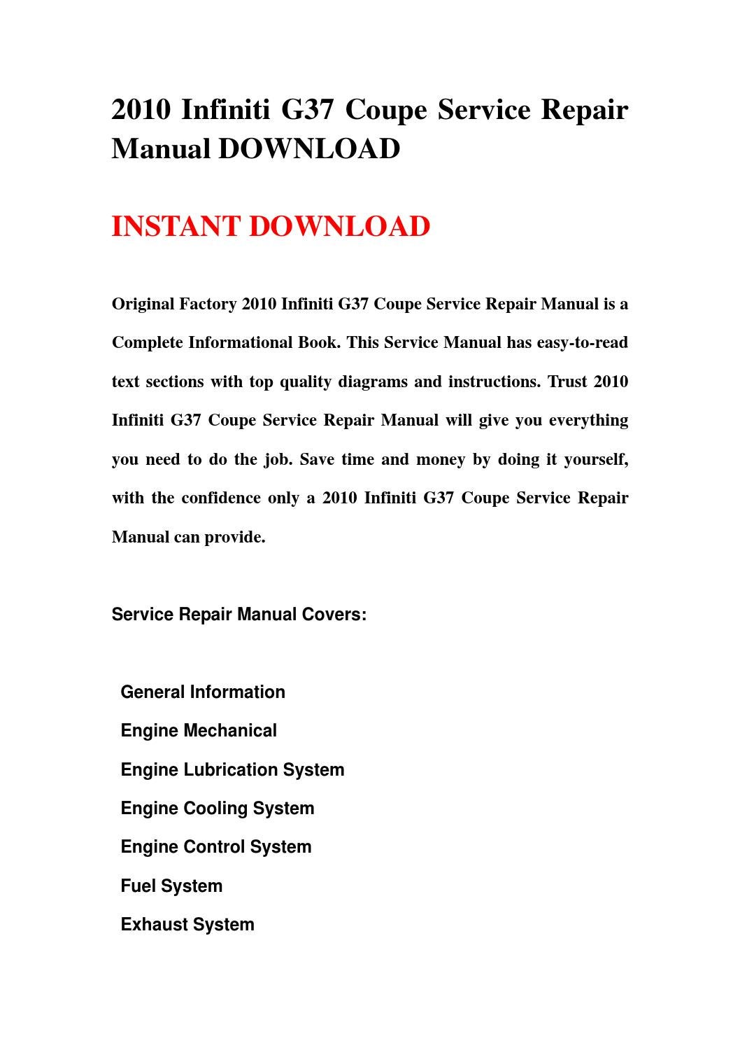 2010 infiniti g37 coupe service repair manual download by repairman rh issuu com infiniti g37 repair manual infiniti g37 service manual