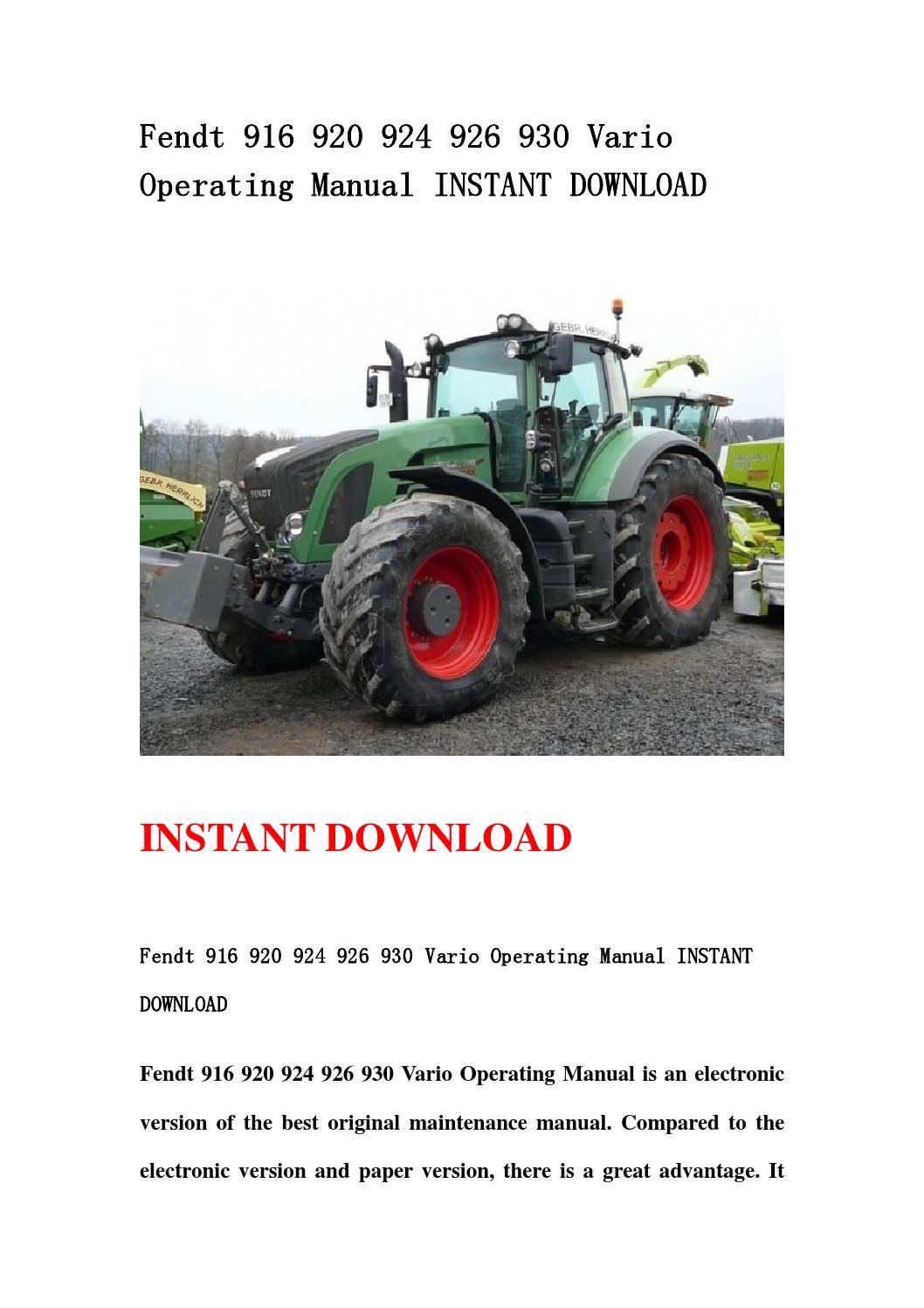 Fendt 926 Manual