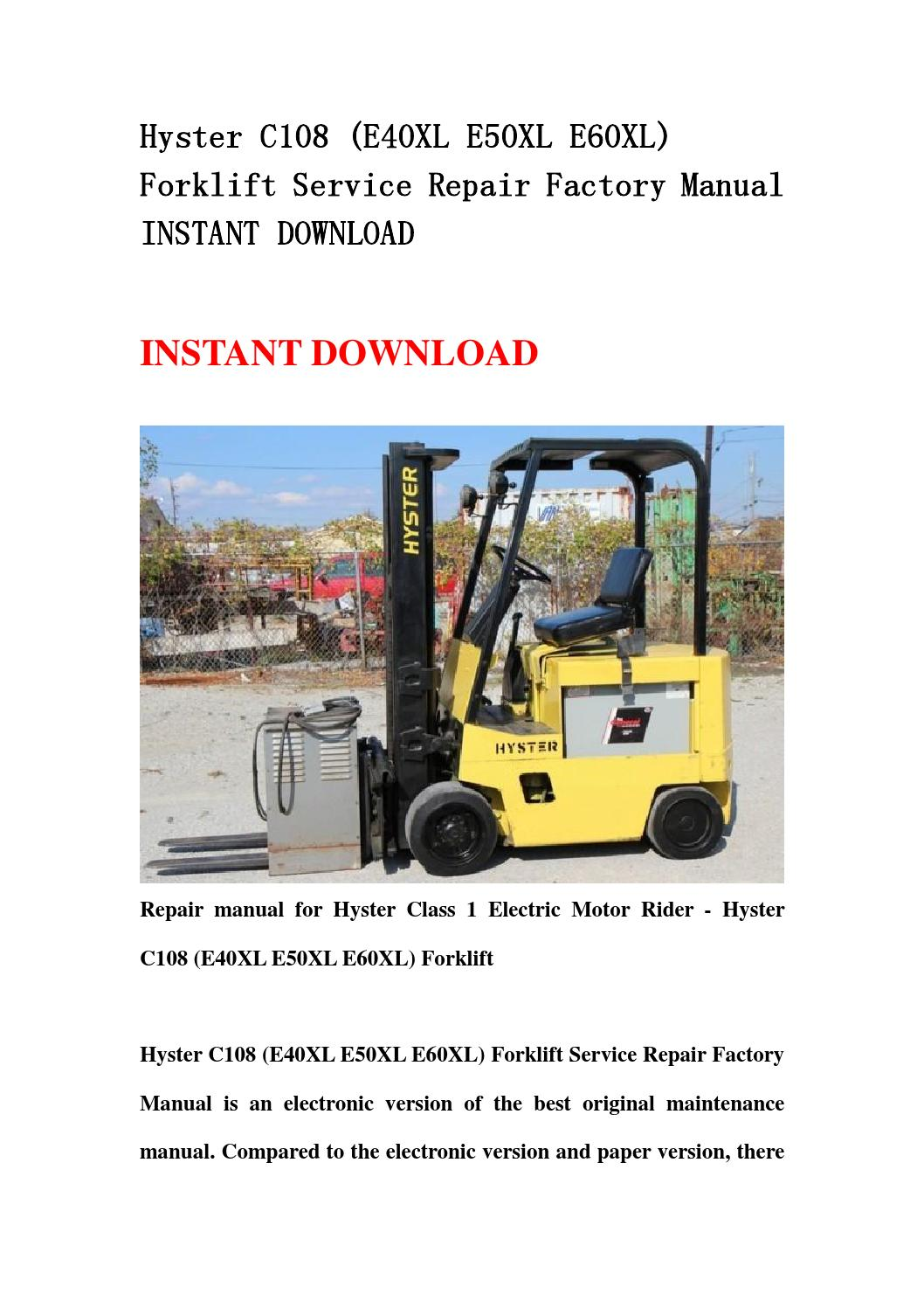 Hyster E50xl forklift Manual