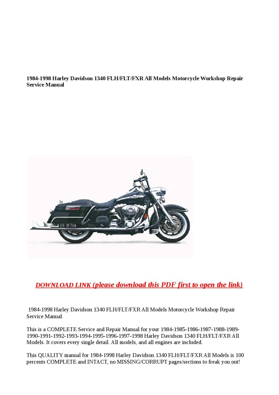 1984 1998 harley davidson 1340 flh flt fxr all models motorcycle workshop  repair service manual by buhbu - issuu