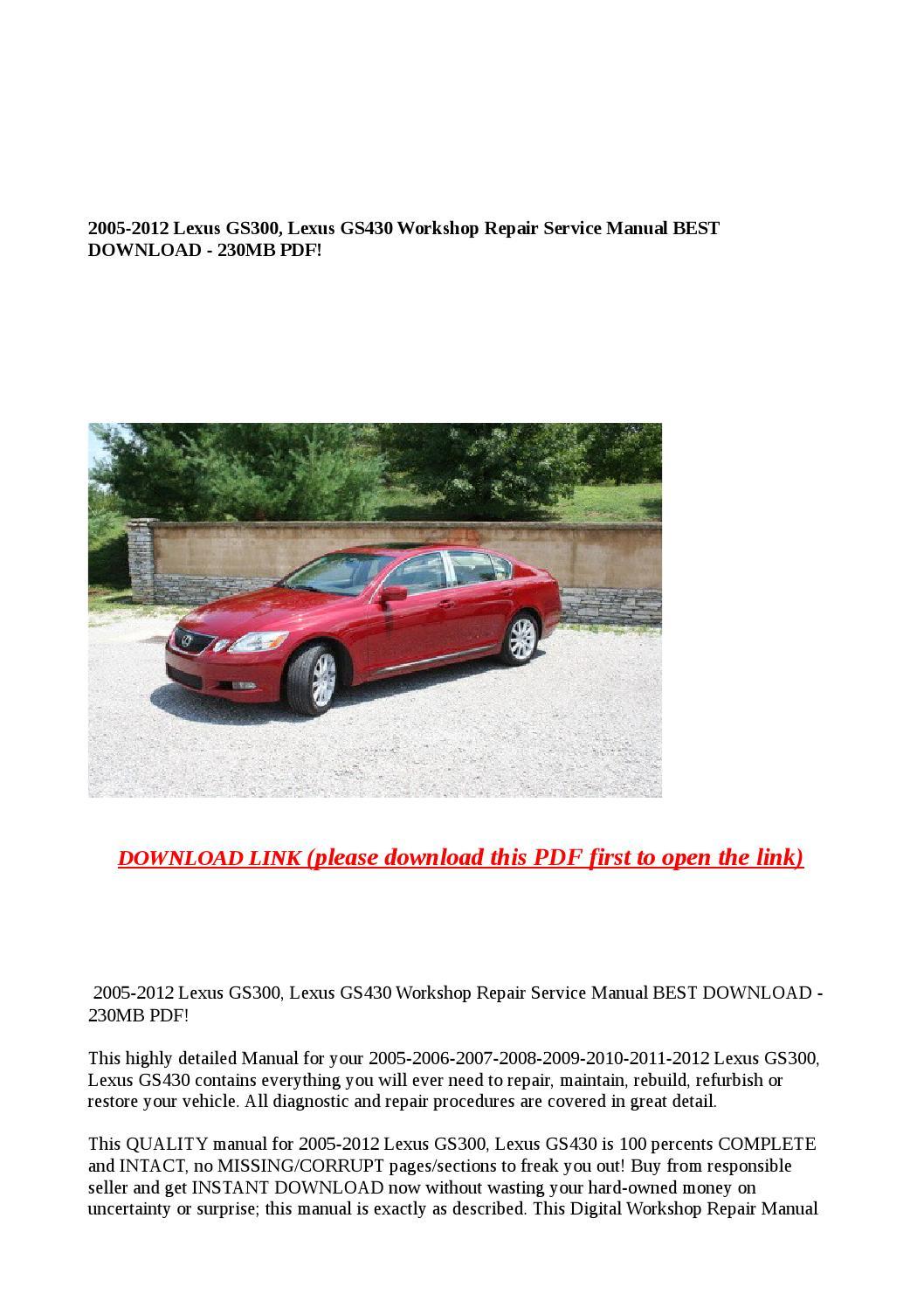 Lexus GS Auto Repair Manual - ChiltonDIY