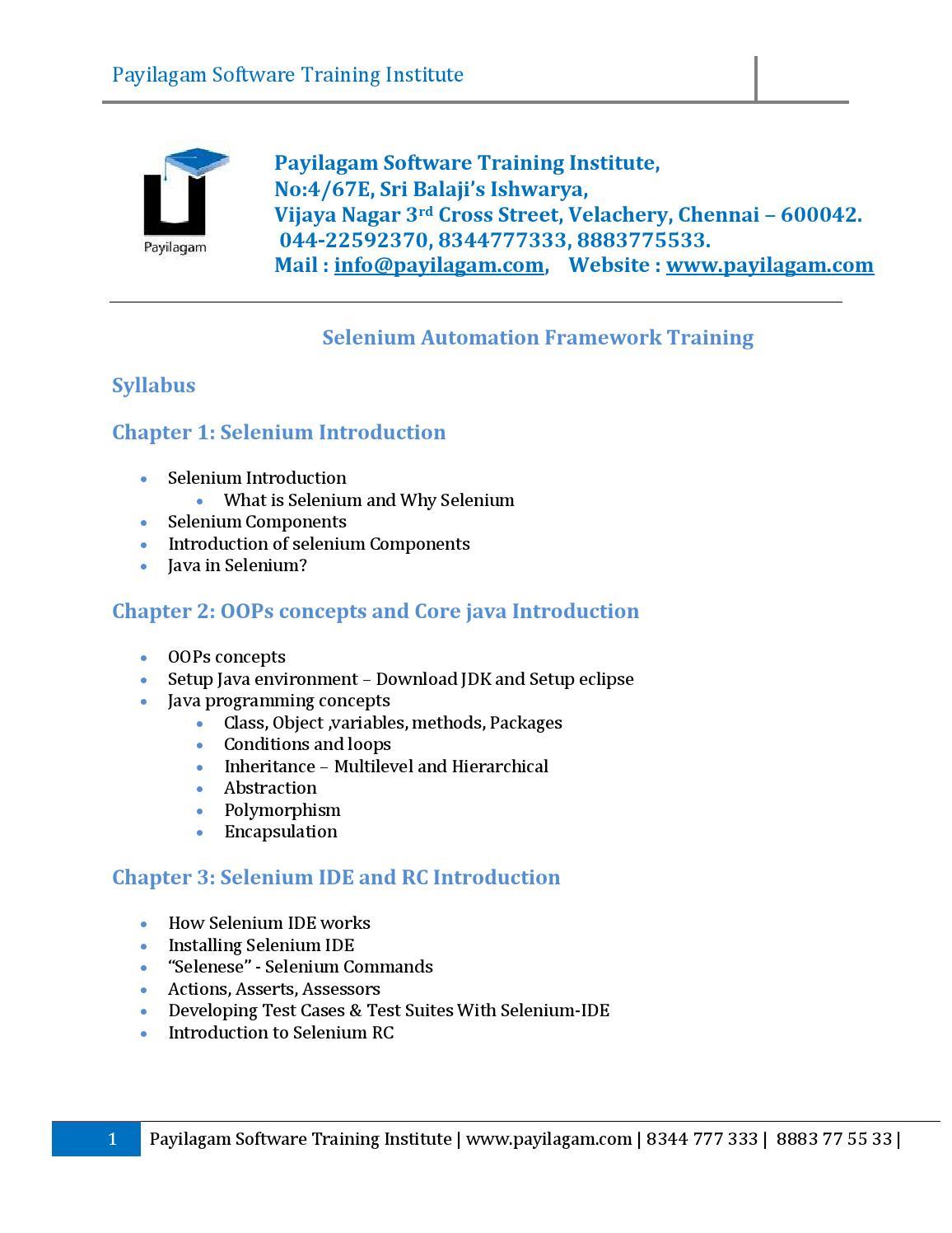 Payilagam selenium testing training syllabus by payilagam - issuu