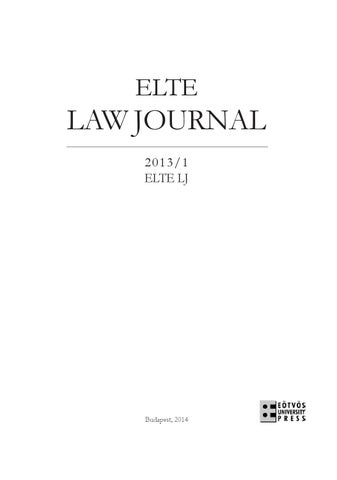 ELTE Law Journal 2013/1 by ELTE Law Journal - issuu