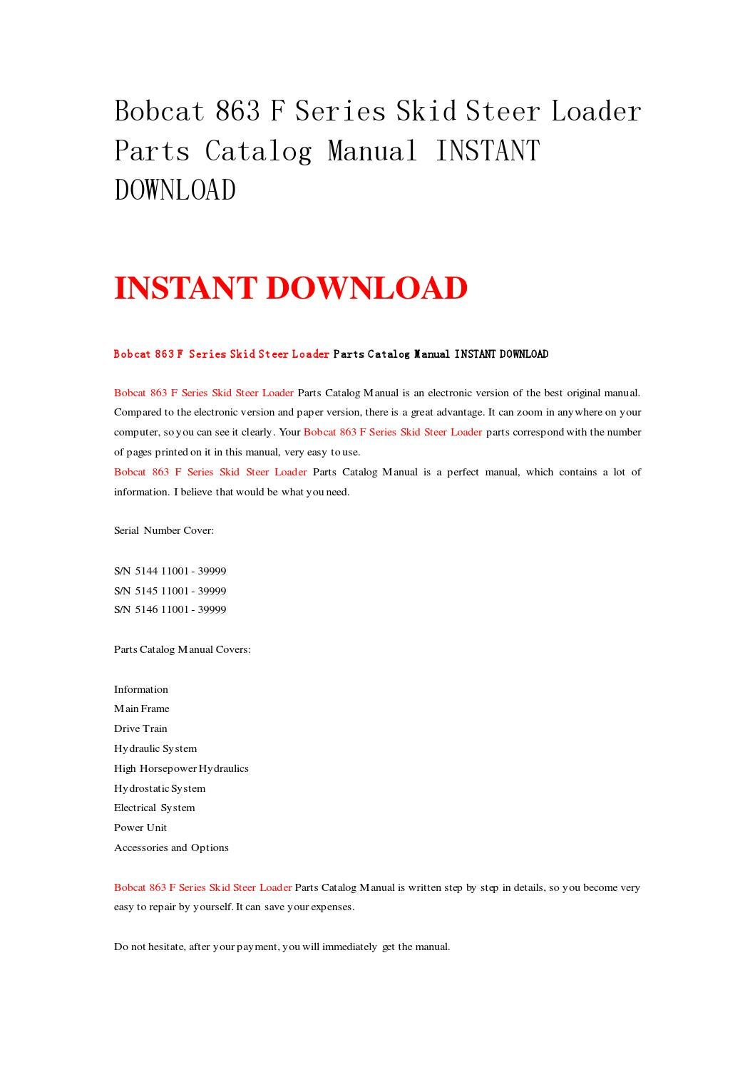 Bobcat 863 f series skid steer loader parts catalog manual