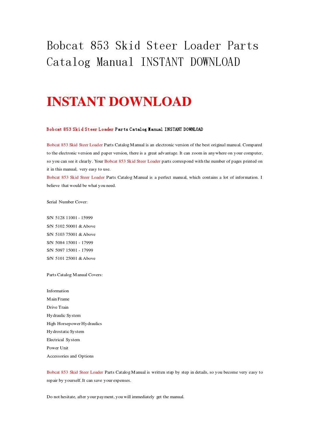bobcat 853 skid steer loader parts catalog manual instant download workshop  by k2repairmanual - issuu