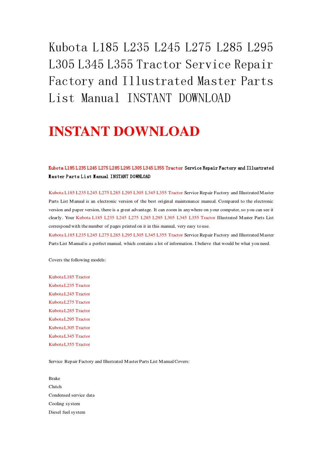 Kubota l185 l235 l245 l275 l285 l295 l305 l345 l355 tractor service repair  factory and illustrated m by k2repairmanual - issuu