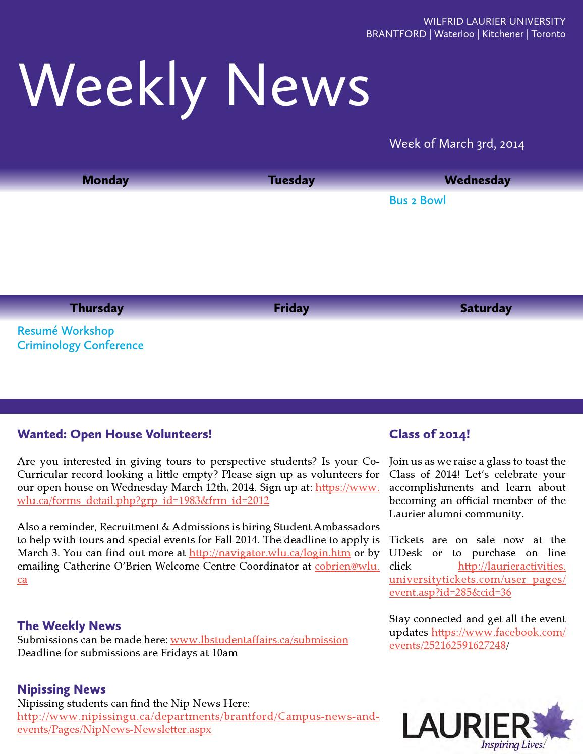 weekly news mar 3 by laurier brantford student life and