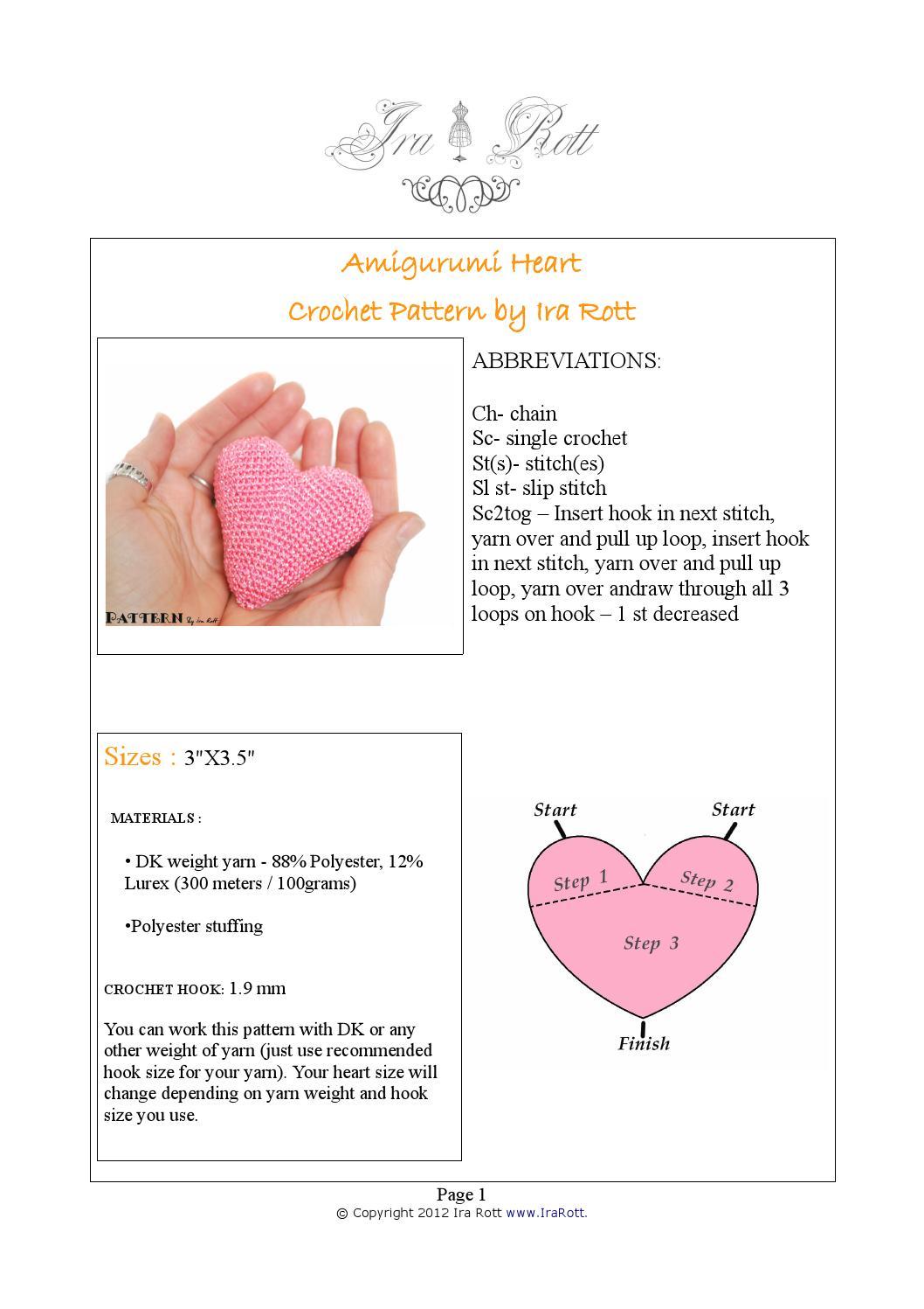 Amigurumi Heart Pattern | Crochet heart pattern, Free heart ... | 1497x1058