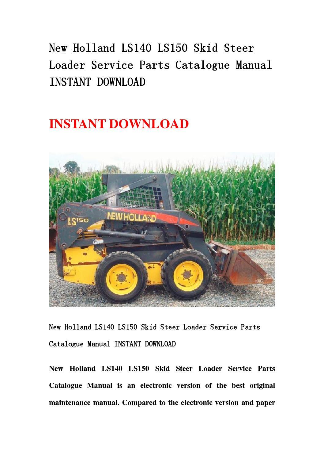 New Holland Ls140 Ls150 Skid Steer Loader Service Parts