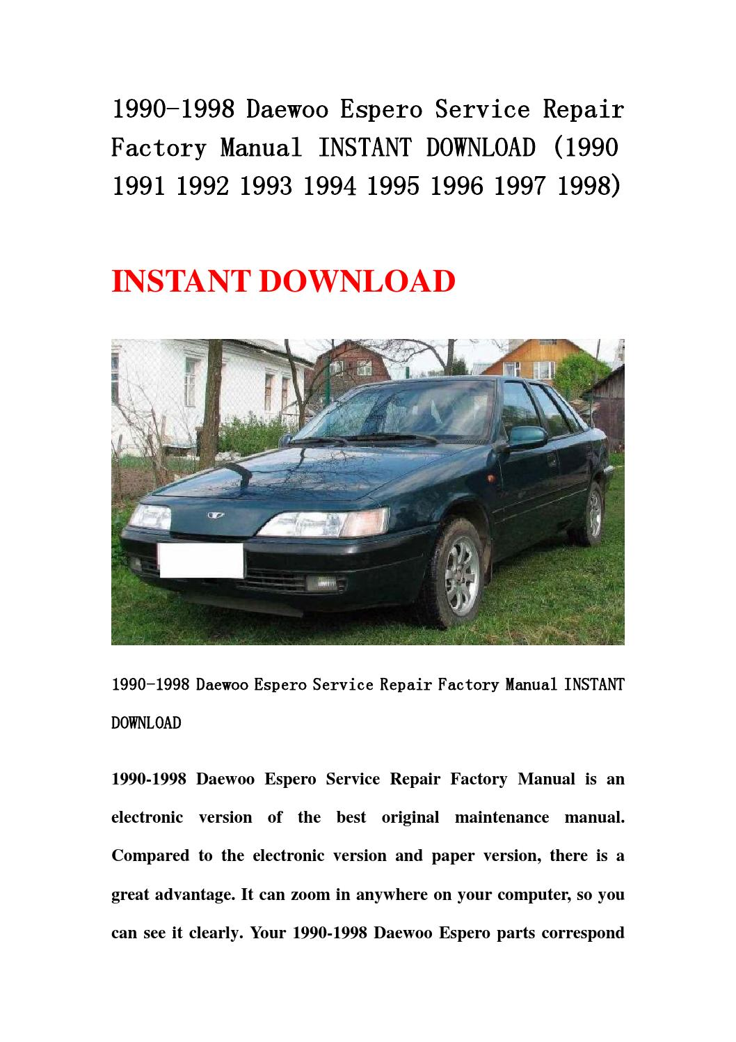 1990 1998 daewoo espero service repair factory manual instant download  (1990 1991 1992 1993 1994 199 by d3bestmanual - issuu