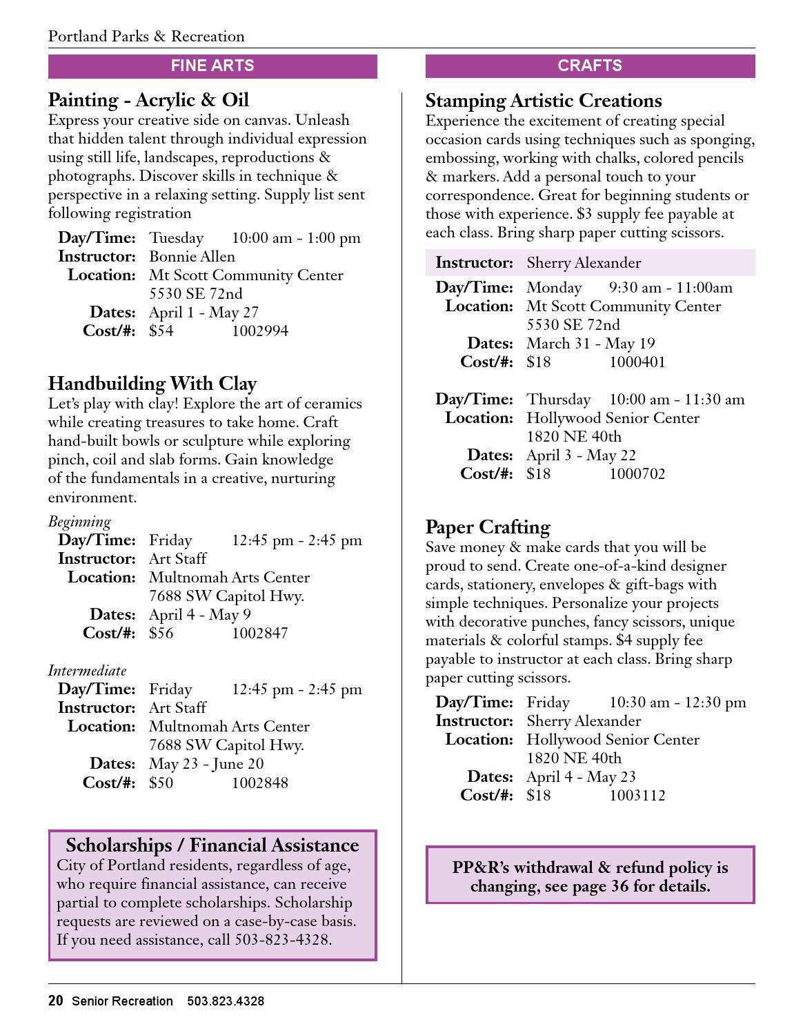Senior Recreation - Spring 2014 Catalog by Portland Parks