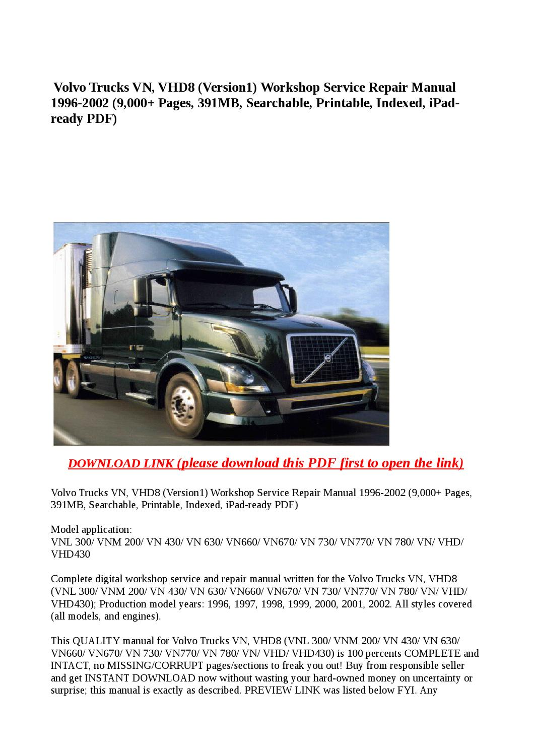 Volvo trucks vn, vhd8 (version1) workshop service repair manual 1996 2002  (9,000 pages, 391mb, searc by buhbu - issuu