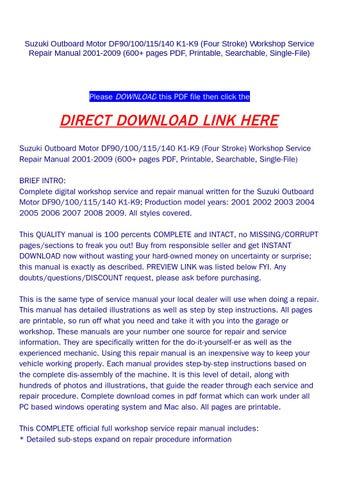 Suzuki outboard motor df90 100 115 140 k1 k9 (four stroke) workshop
