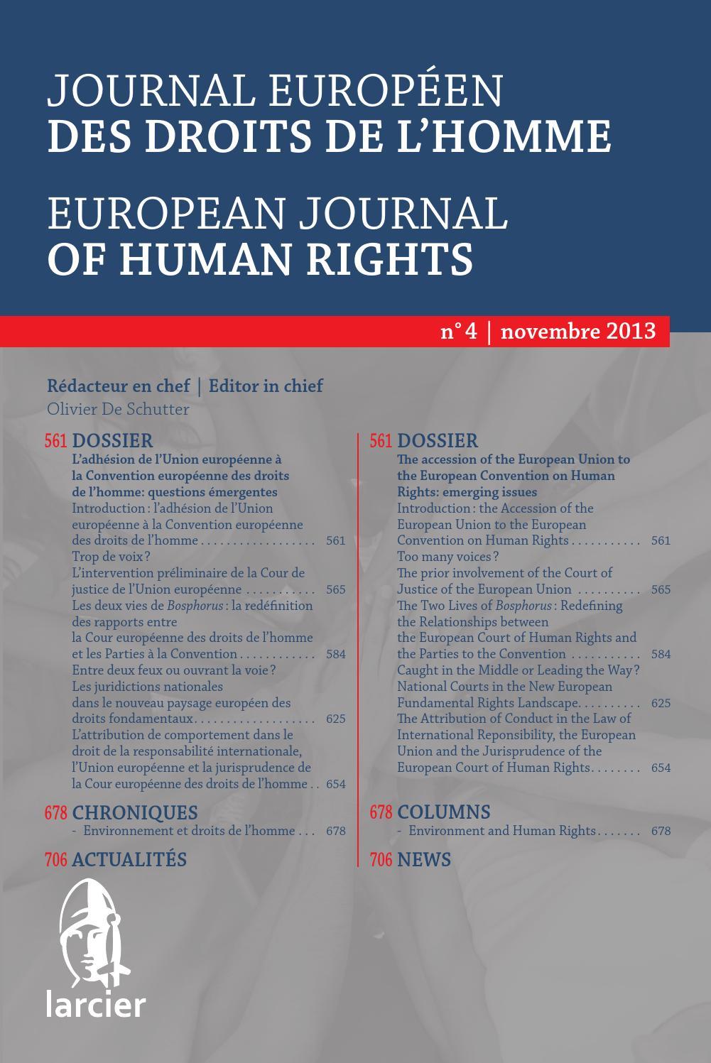 Journal Européen Des Droits De L Homme 2013 4 By Groupe