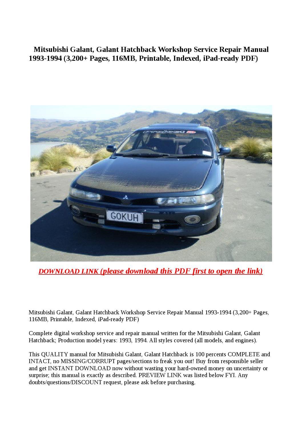 Mitsubishi galant, galant hatchback workshop service repair manual 1993  1994 (3,200 pages, 116mb, pr by buhbu - issuu