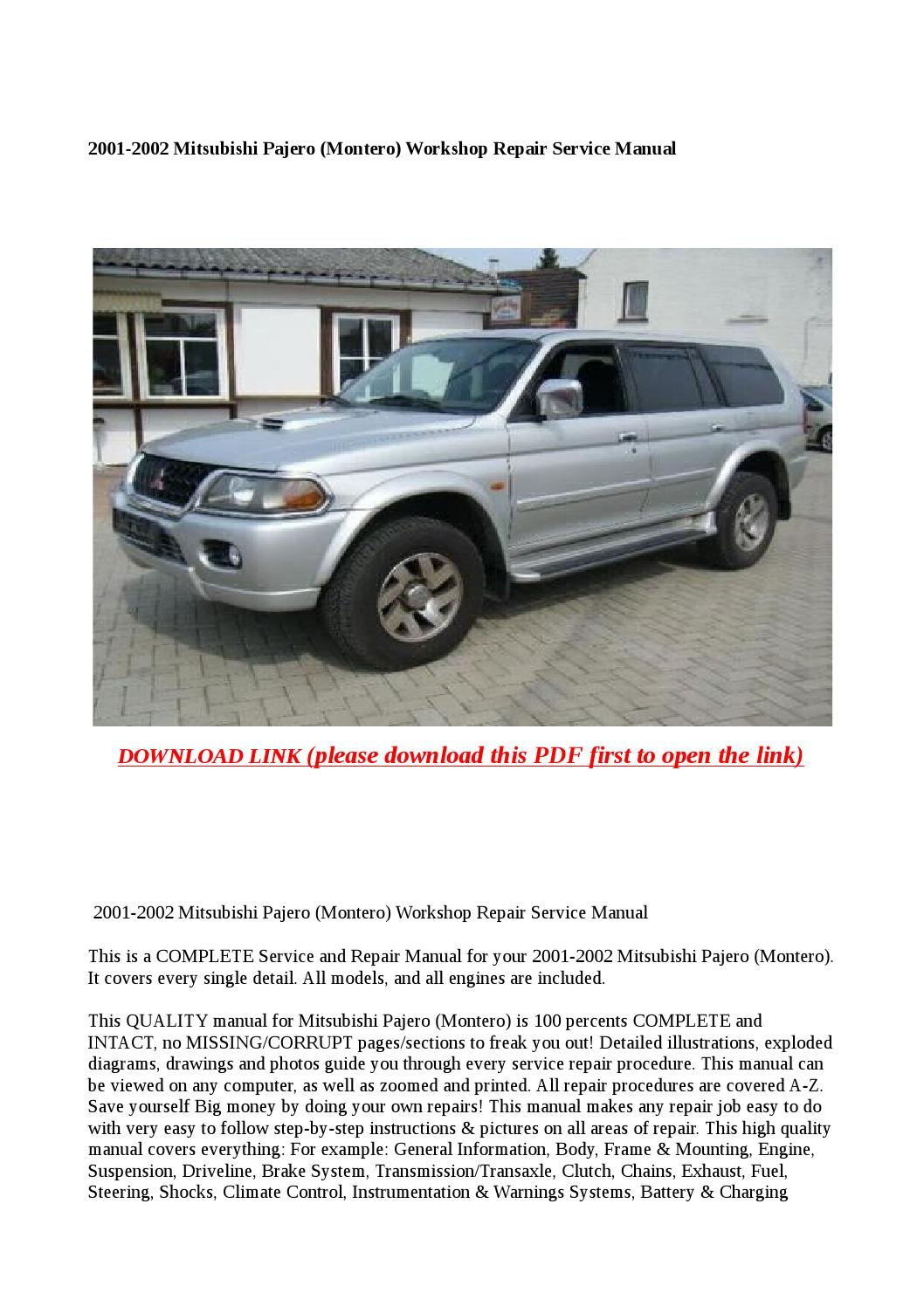 2001 2002 mitsubishi pajero (montero) workshop repair service manual by  buhbu - issuu