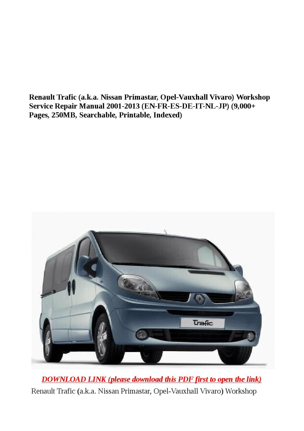 Renault trafic (a k a nissan primastar, opel vauxhall vivaro) workshop  service repair manual 2001 20 by buhbu - issuu