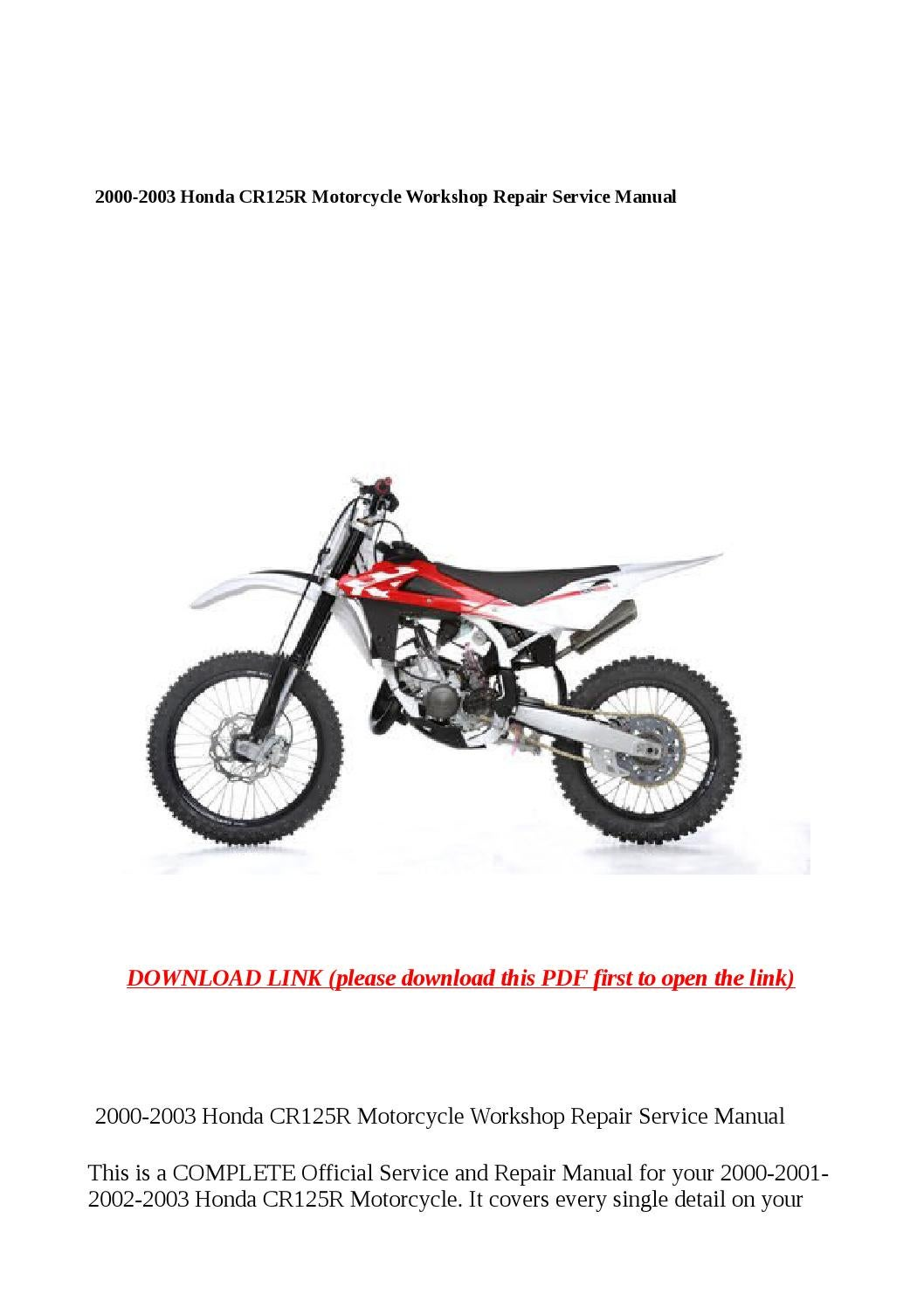 ... repair manual Array - cr125r manual rh parallel welten info 2000 2003  honda cr125r motorcycle ...