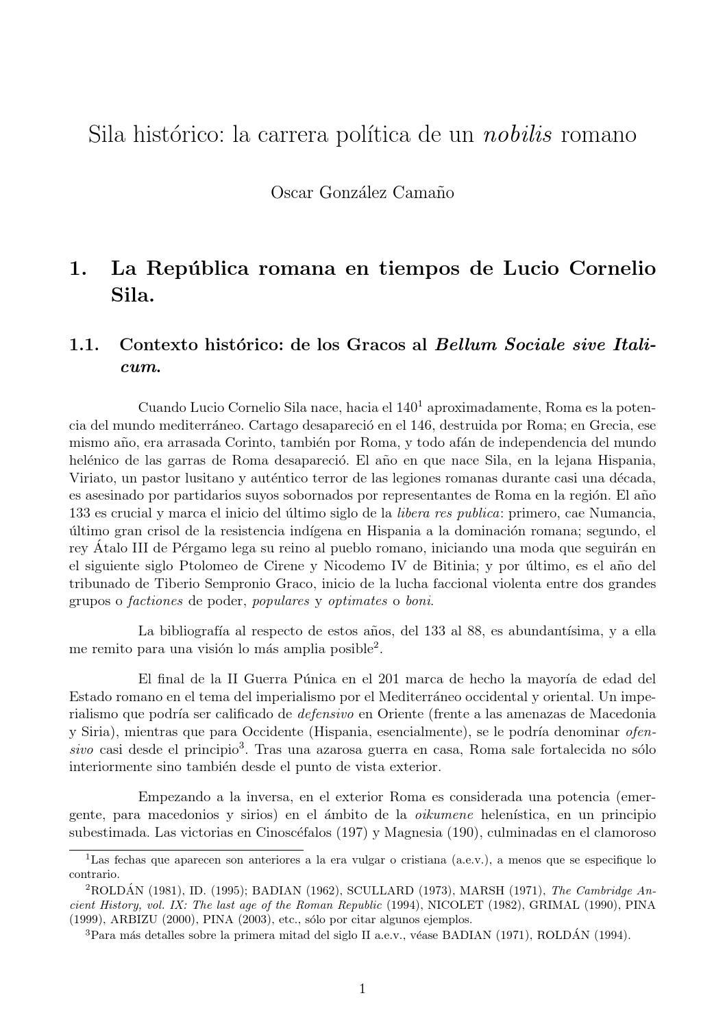 Lucio Cornelio Sila: la carrera política de un \'nobilis\' romano by ...