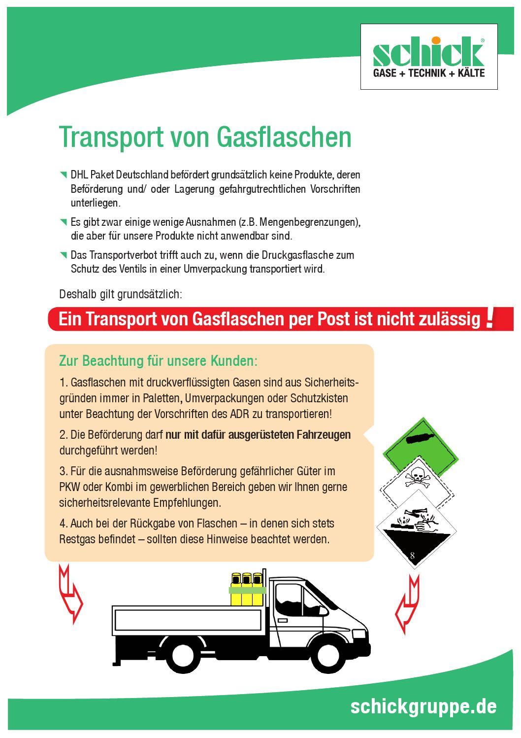 merkblatt transport von gasflaschen by schick gruppe issuu. Black Bedroom Furniture Sets. Home Design Ideas