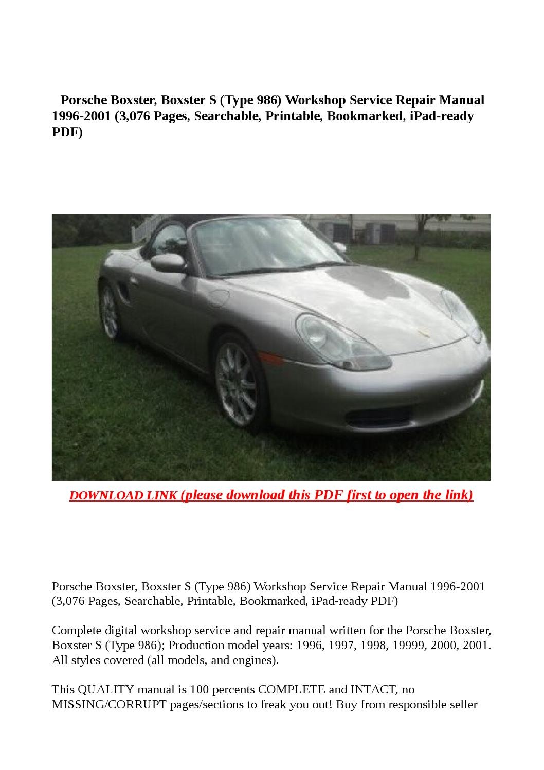 Porsche boxster, boxster s (type 986) workshop service repair manual 1996  2001 (3,076 pages, searcha by buhbu - issuu