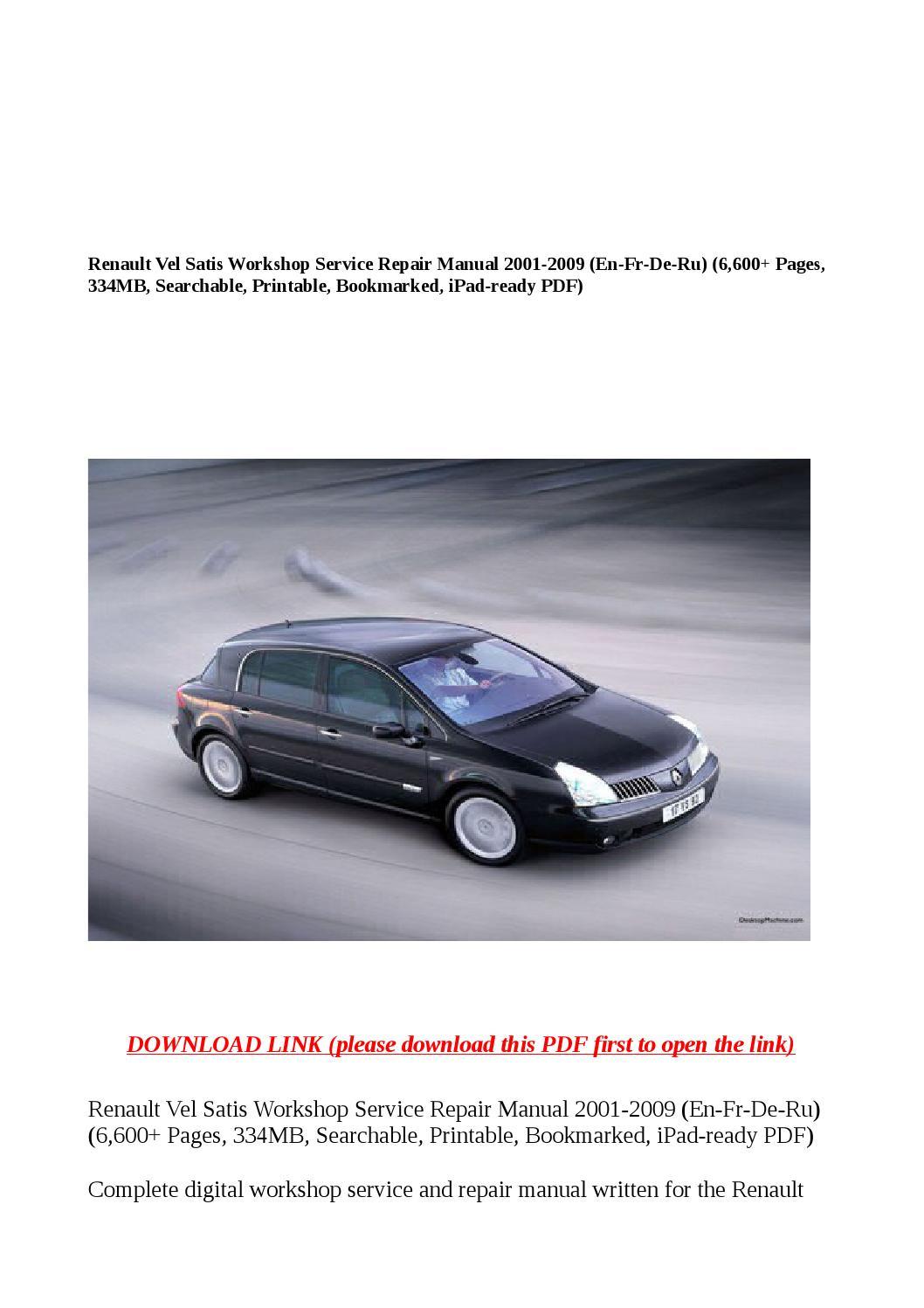 Renault vel satis workshop service repair manual 2001 2009 (en fr de ru)  (6,600 pages, 334mb, search by buhbu - issuu