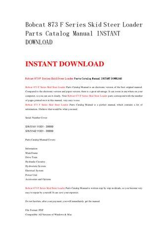 bobcat 873 f series skid steer loader parts catalog manual instantpage 1 bobcat 873 f series skid steer loader parts catalog